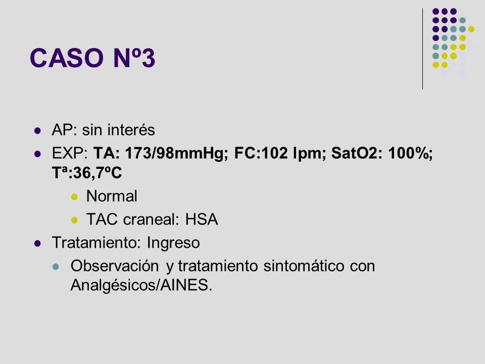 AP: sin interés EXP: TA: 173/98mmHg; FC:102 lpm; SatO2: 100%; Tª:36,7ºC Normal TAC craneal: HSA Tratamiento: Ingreso Observación y tratamiento sintomá