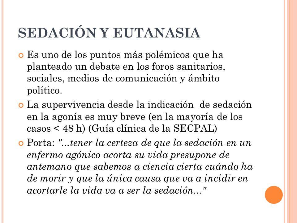 SEDACIÓN Y EUTANASIA Es uno de los puntos más polémicos que ha planteado un debate en los foros sanitarios, sociales, medios de comunicación y ámbito