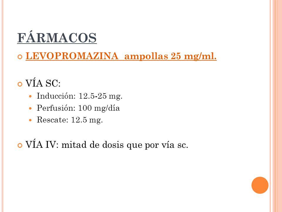 FÁRMACOS LEVOPROMAZINA ampollas 25 mg/ml. VÍA SC: Inducción: 12.5-25 mg. Perfusión: 100 mg/día Rescate: 12.5 mg. VÍA IV: mitad de dosis que por vía sc