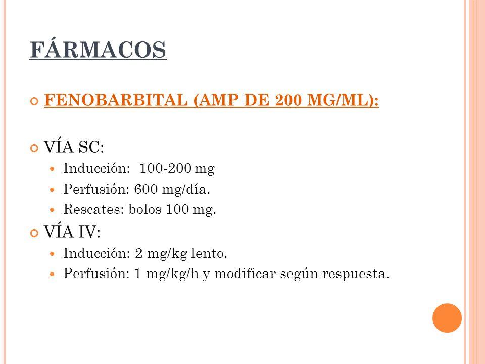 FÁRMACOS FENOBARBITAL (AMP DE 200 MG/ML): VÍA SC: Inducción: 100-200 mg Perfusión: 600 mg/día. Rescates: bolos 100 mg. VÍA IV: Inducción: 2 mg/kg lent