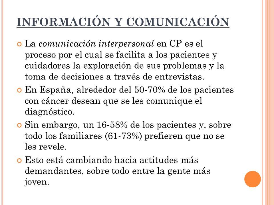 INFORMACIÓN Y COMUNICACIÓN La comunicación interpersonal en CP es el proceso por el cual se facilita a los pacientes y cuidadores la exploración de su