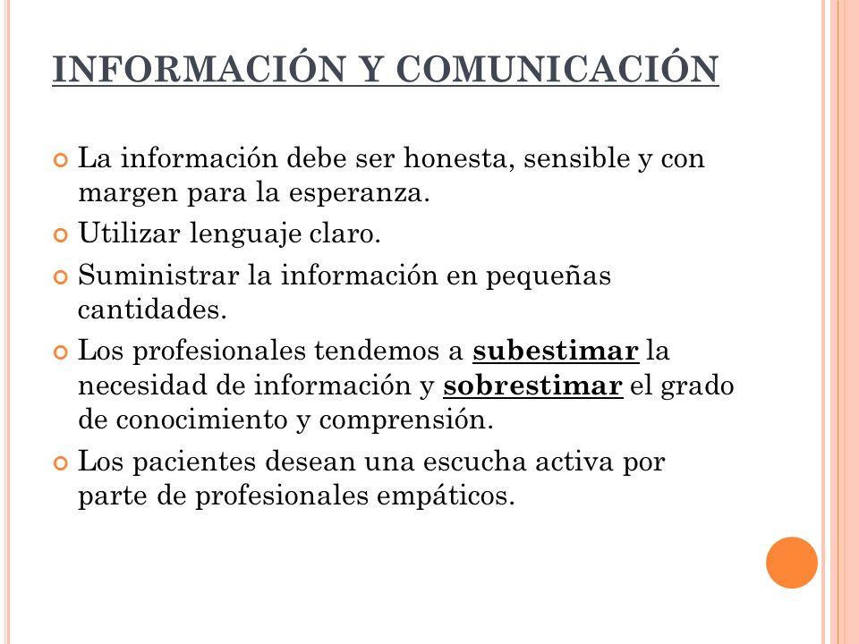 INFORMACIÓN Y COMUNICACIÓN La información debe ser honesta, sensible y con margen para la esperanza. Utilizar lenguaje claro. Suministrar la informaci