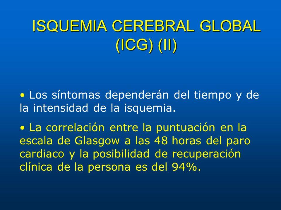 ISQUEMIA CEREBRAL GLOBAL (ICG) (II) Los síntomas dependerán del tiempo y de la intensidad de la isquemia. La correlación entre la puntuación en la esc