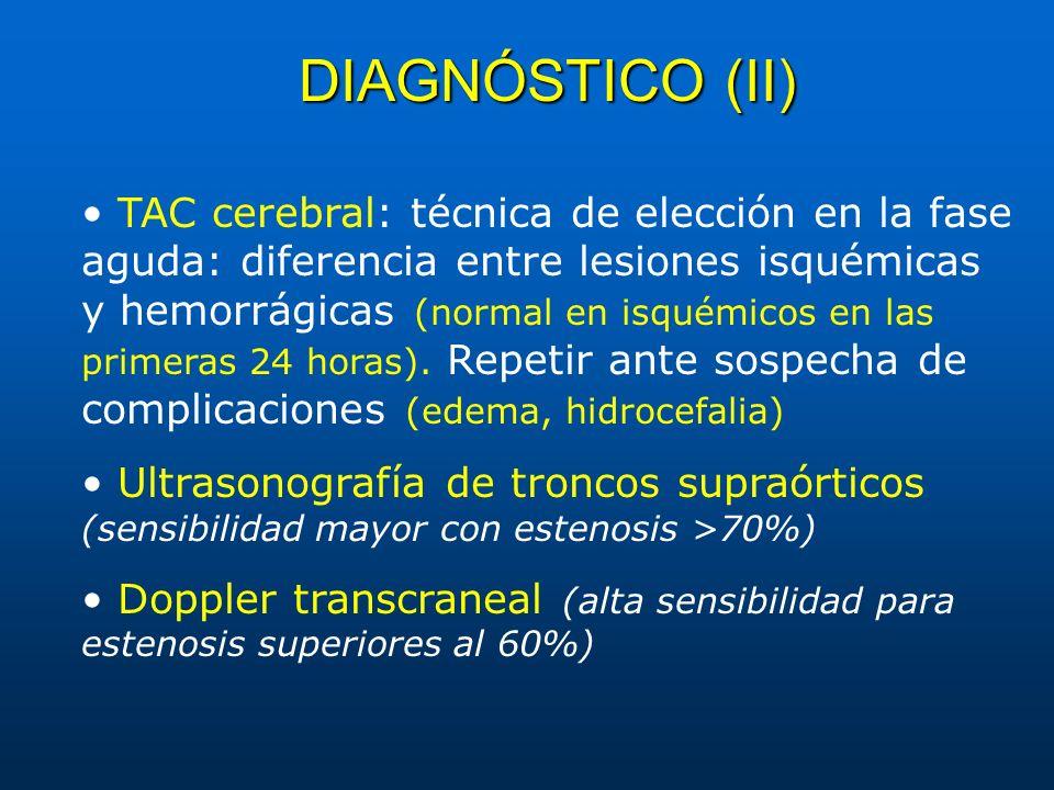 DIAGNÓSTICO (II) TAC cerebral: técnica de elección en la fase aguda: diferencia entre lesiones isquémicas y hemorrágicas (normal en isquémicos en las