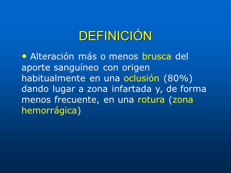 DEFINICIÓN Alteración más o menos brusca del aporte sanguíneo con origen habitualmente en una oclusión (80%) dando lugar a zona infartada y, de forma