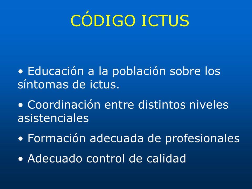 CÓDIGO ICTUS Educación a la población sobre los síntomas de ictus. Coordinación entre distintos niveles asistenciales Formación adecuada de profesiona