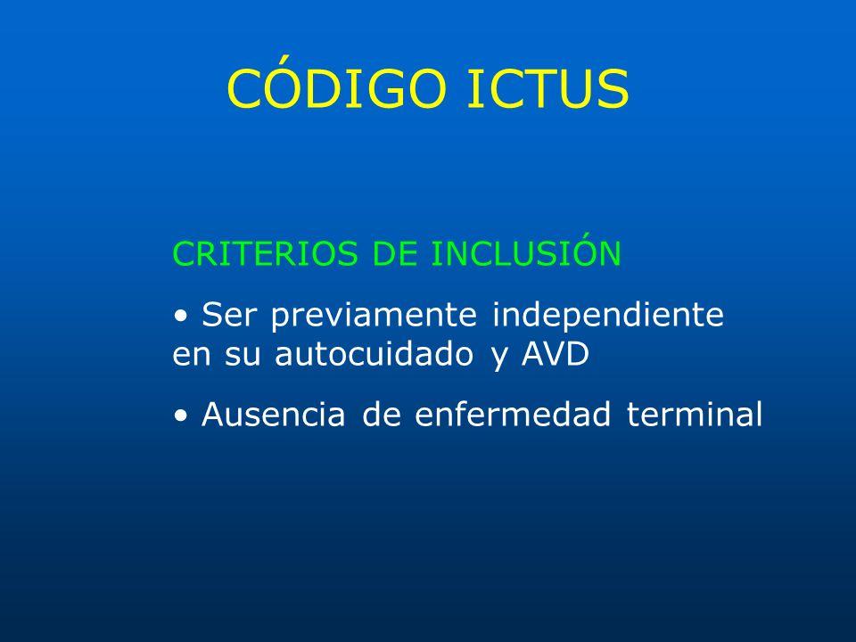 CÓDIGO ICTUS CRITERIOS DE INCLUSIÓN Ser previamente independiente en su autocuidado y AVD Ausencia de enfermedad terminal