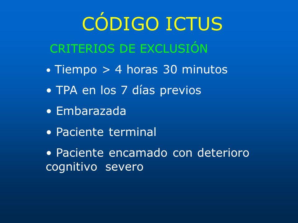 CÓDIGO ICTUS CRITERIOS DE EXCLUSIÓN Tiempo > 4 horas 30 minutos TPA en los 7 días previos Embarazada Paciente terminal Paciente encamado con deterioro