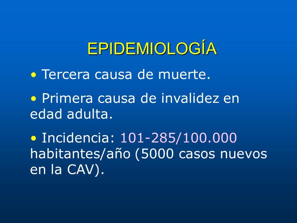 EPIDEMIOLOGÍA Tercera causa de muerte. Primera causa de invalidez en edad adulta. Incidencia: 101-285/100.000 habitantes/año (5000 casos nuevos en la