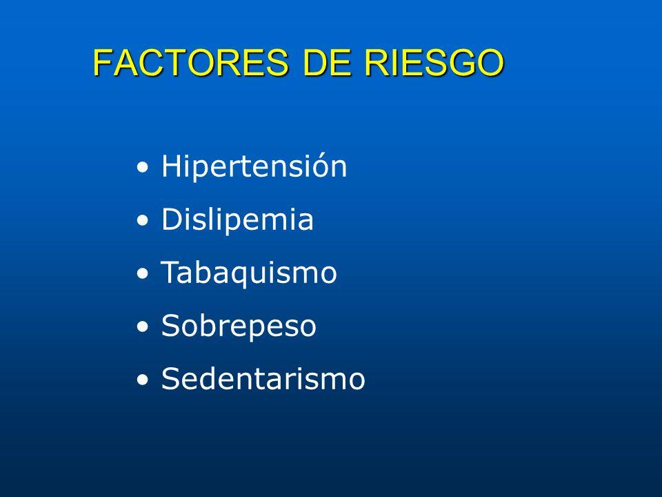FACTORES DE RIESGO Hipertensión Dislipemia Tabaquismo Sobrepeso Sedentarismo