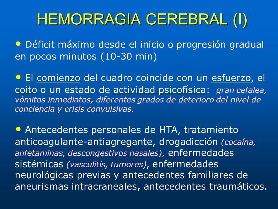 HEMORRAGIA CEREBRAL (I) Déficit máximo desde el inicio o progresión gradual en pocos minutos (10-30 min) El comienzo del cuadro coincide con un esfuer