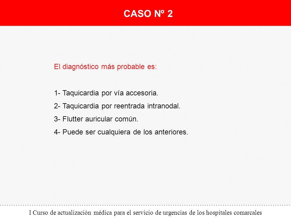 I Curso de actualización médica para el servicio de urgencias de los hospitales comarcales El diagnóstico más probable es: 1- Taquicardia por vía acce