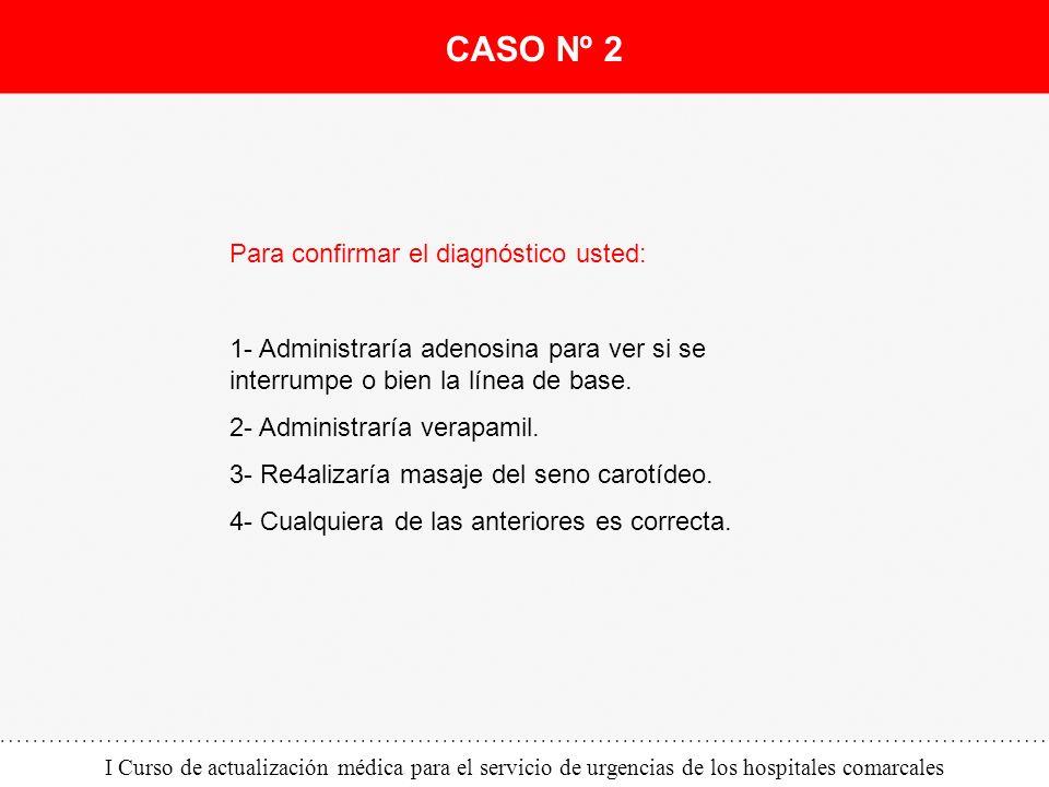 I Curso de actualización médica para el servicio de urgencias de los hospitales comarcales Para confirmar el diagnóstico usted: 1- Administraría adeno
