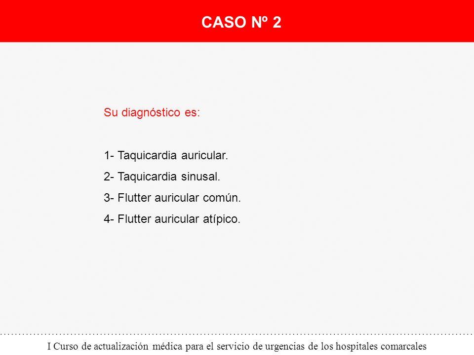 I Curso de actualización médica para el servicio de urgencias de los hospitales comarcales Su diagnóstico es: 1- Taquicardia auricular. 2- Taquicardia