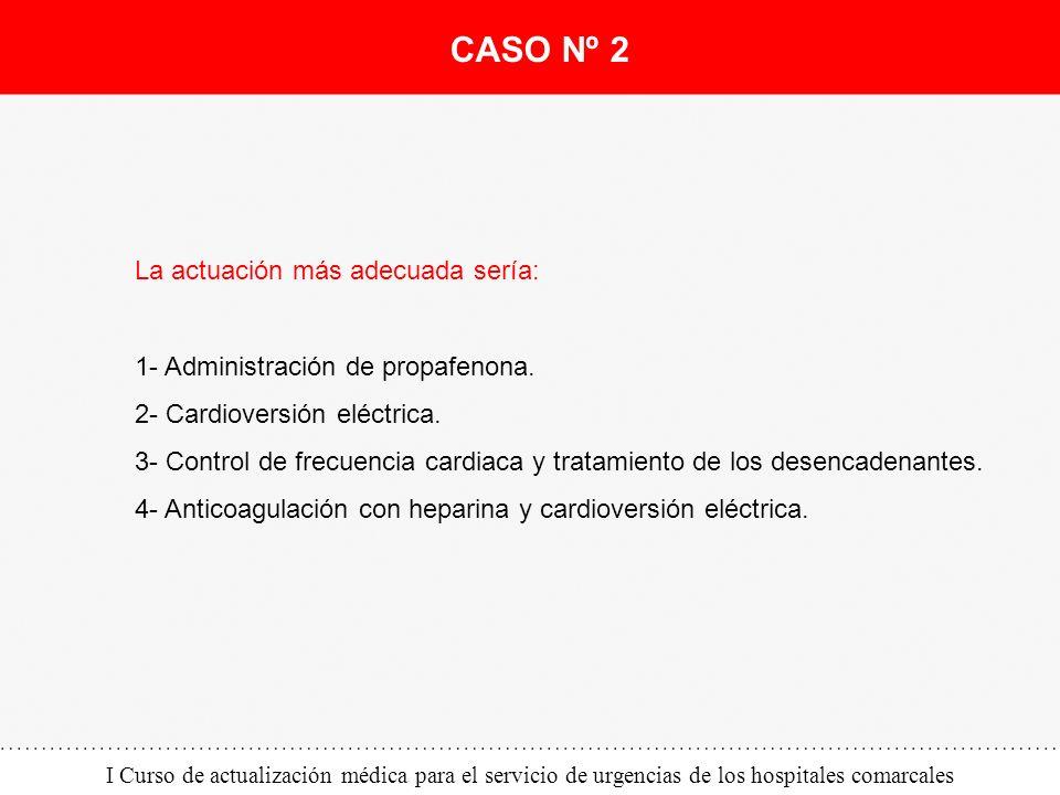I Curso de actualización médica para el servicio de urgencias de los hospitales comarcales La actuación más adecuada sería: 1- Administración de propa