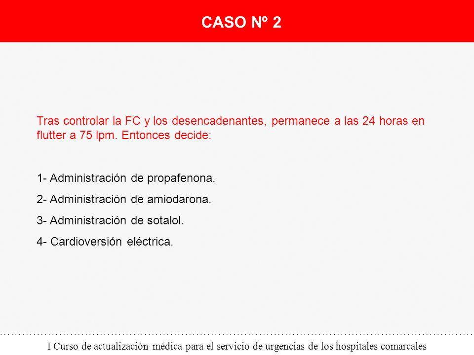 I Curso de actualización médica para el servicio de urgencias de los hospitales comarcales Tras controlar la FC y los desencadenantes, permanece a las