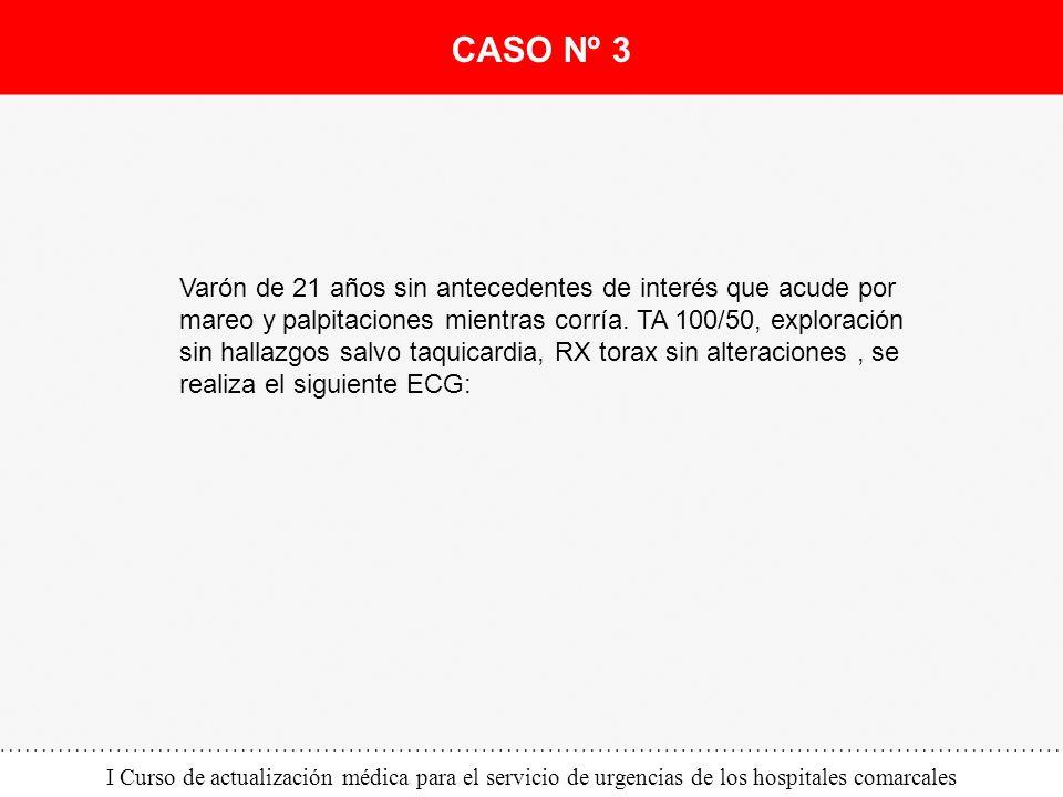 I Curso de actualización médica para el servicio de urgencias de los hospitales comarcales Varón de 21 años sin antecedentes de interés que acude por