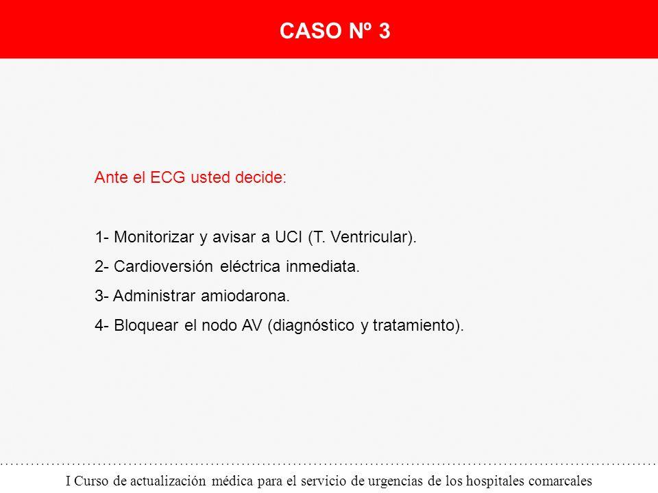 I Curso de actualización médica para el servicio de urgencias de los hospitales comarcales Ante el ECG usted decide: 1- Monitorizar y avisar a UCI (T.