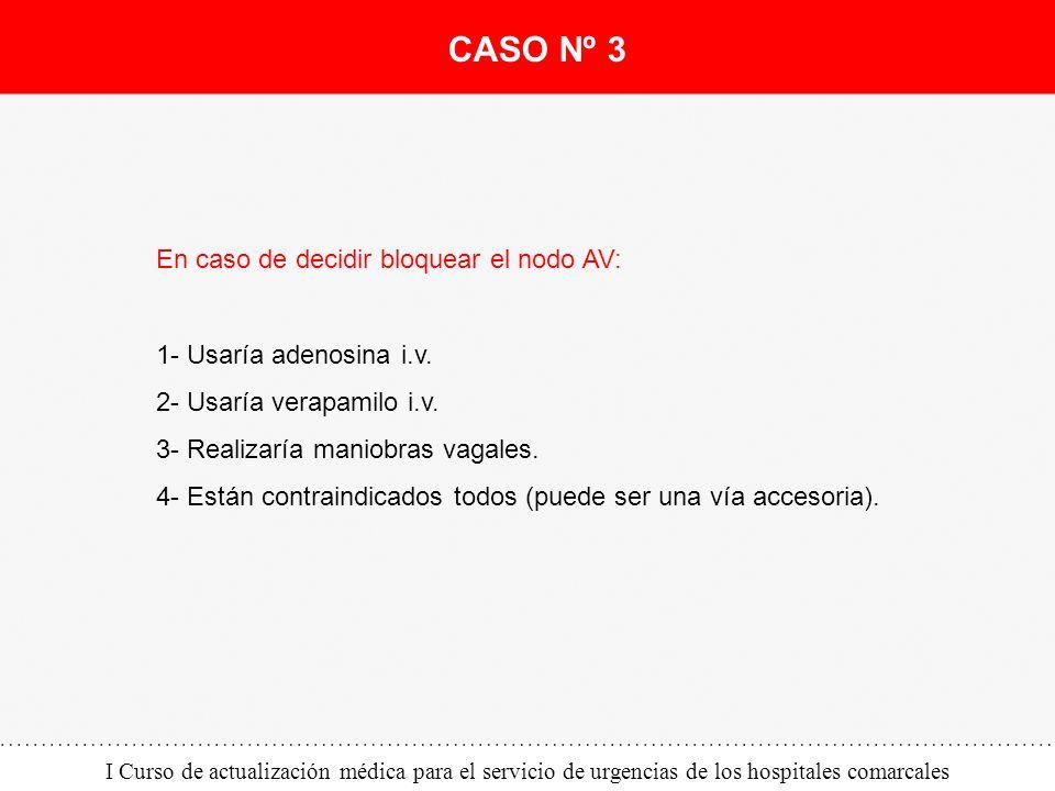 I Curso de actualización médica para el servicio de urgencias de los hospitales comarcales En caso de decidir bloquear el nodo AV: 1- Usaría adenosina