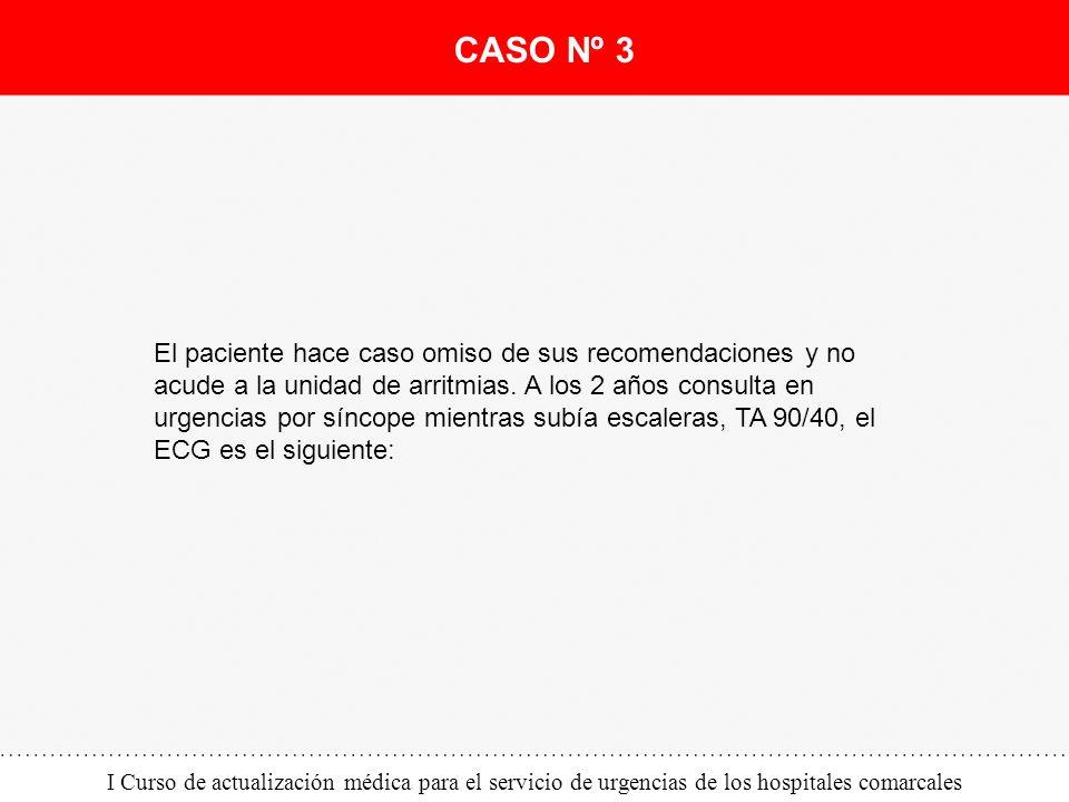 I Curso de actualización médica para el servicio de urgencias de los hospitales comarcales El paciente hace caso omiso de sus recomendaciones y no acu