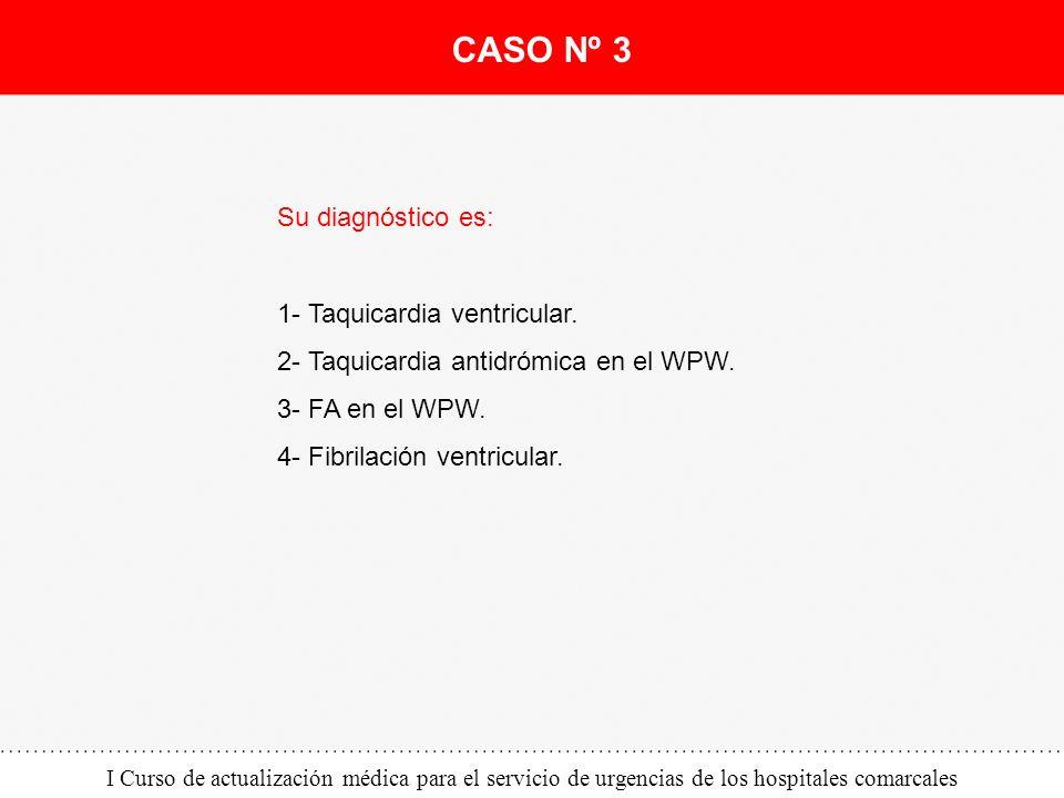 I Curso de actualización médica para el servicio de urgencias de los hospitales comarcales Su diagnóstico es: 1- Taquicardia ventricular. 2- Taquicard