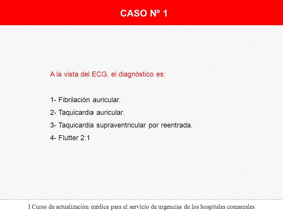 I Curso de actualización médica para el servicio de urgencias de los hospitales comarcales A la vista del ECG, el diagnóstico es: 1- Fibrilación auric