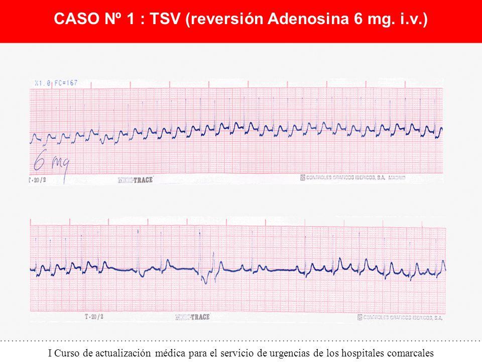 I Curso de actualización médica para el servicio de urgencias de los hospitales comarcales CASO Nº 1 : TSV (reversión Adenosina 6 mg. i.v.)