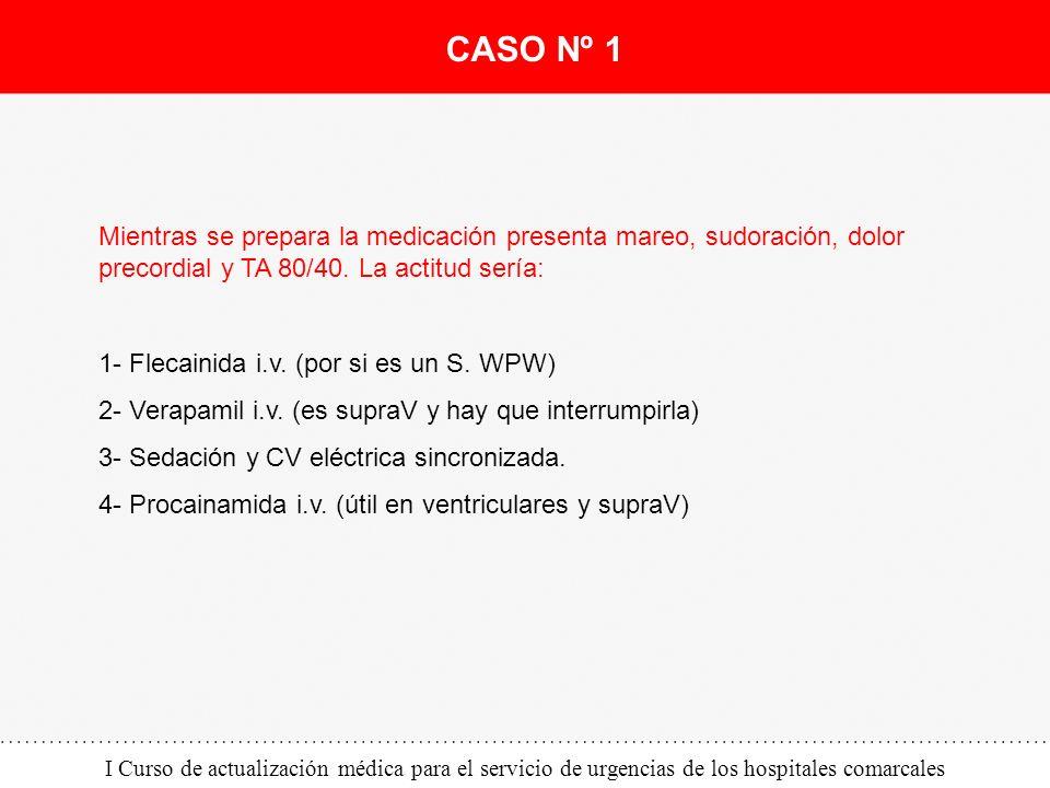I Curso de actualización médica para el servicio de urgencias de los hospitales comarcales Mientras se prepara la medicación presenta mareo, sudoració