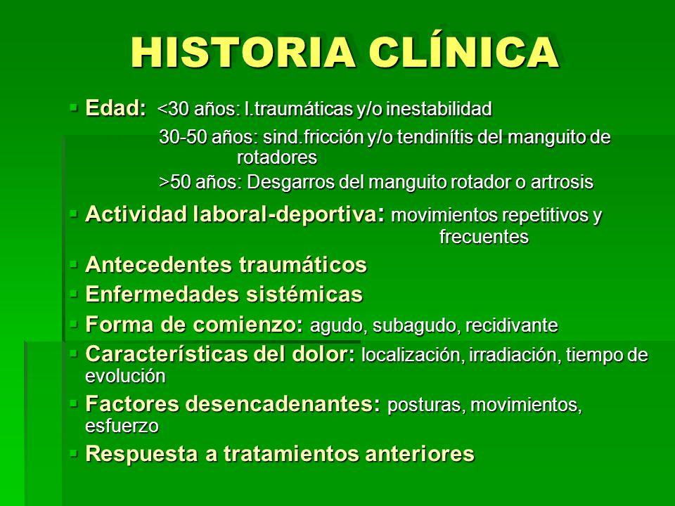 HISTORIA CLÍNICA Edad: <30 años: l.traumáticas y/o inestabilidad Edad: <30 años: l.traumáticas y/o inestabilidad 30-50 años: sind.fricción y/o tendiní