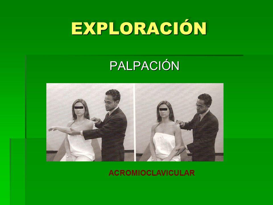 EXPLORACIÓNEXPLORACIÓN PALPACIÓN ACROMIOCLAVICULAR