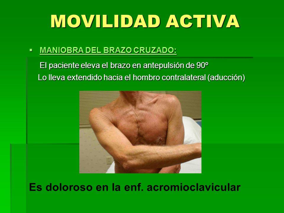 MOVILIDAD ACTIVA MANIOBRA DEL BRAZO CRUZADO: MANIOBRA DEL BRAZO CRUZADO: El paciente eleva el brazo en antepulsión de 90º Lo lleva extendido hacia el