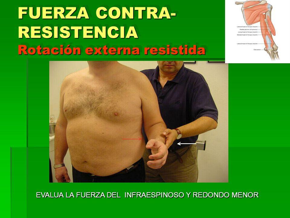 FUERZA CONTRA- RESISTENCIA Rotación externa resistida EVALUA LA FUERZA DEL INFRAESPINOSO Y REDONDO MENOR