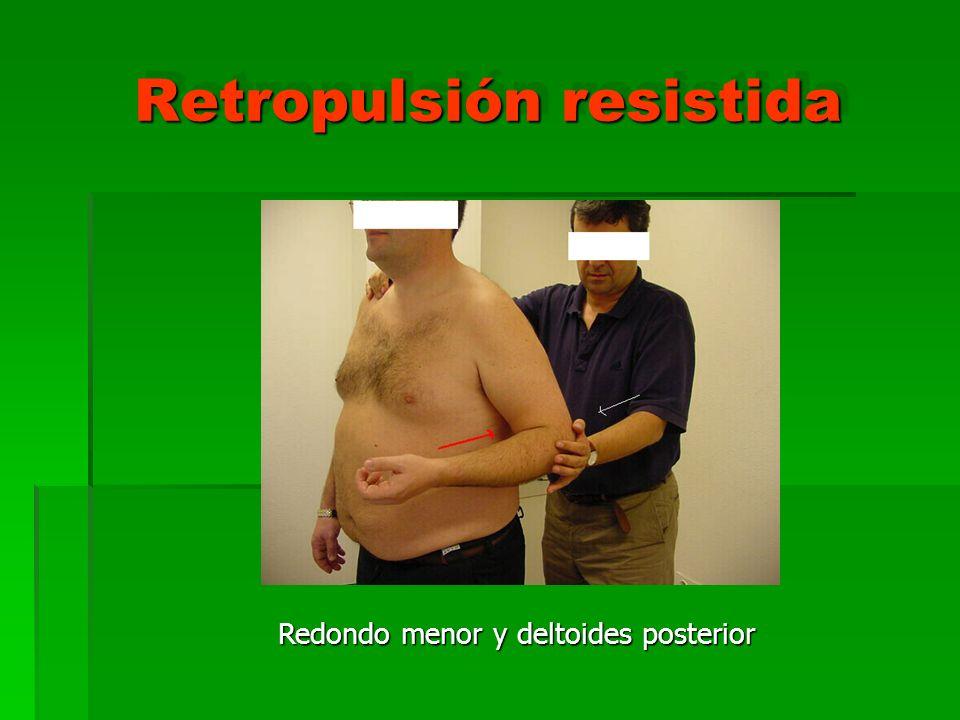 Retropulsión resistida Redondo menor y deltoides posterior