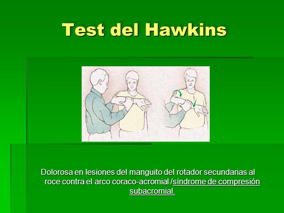 Test del Hawkins Dolorosa en lesiones del manguito del rotador secundarias al roce contra el arco coraco-acromial /síndrome de compresión subacromial.
