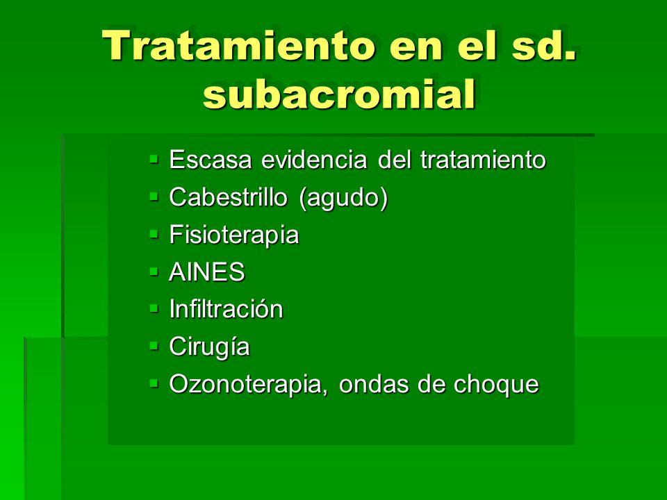 Tratamiento en el sd. subacromial Escasa evidencia del tratamiento Escasa evidencia del tratamiento Cabestrillo (agudo) Cabestrillo (agudo) Fisioterap
