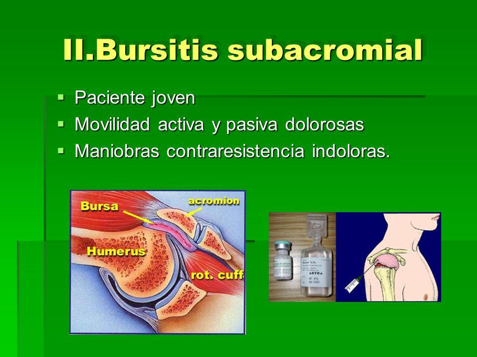 II.Bursitis subacromial Paciente joven Paciente joven Movilidad activa y pasiva dolorosas Movilidad activa y pasiva dolorosas Maniobras contraresisten