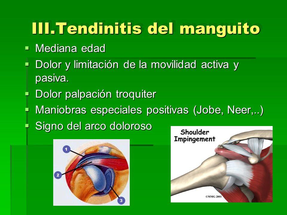 III.Tendinitis del manguito Mediana edad Mediana edad Dolor y limitación de la movilidad activa y pasiva. Dolor y limitación de la movilidad activa y