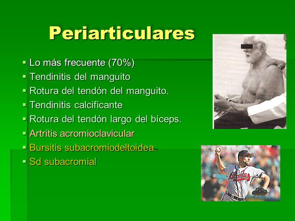 PeriarticularesPeriarticulares Lo más frecuente (70%) Lo más frecuente (70%) Tendinitis del manguito Tendinitis del manguito Rotura del tendón del man