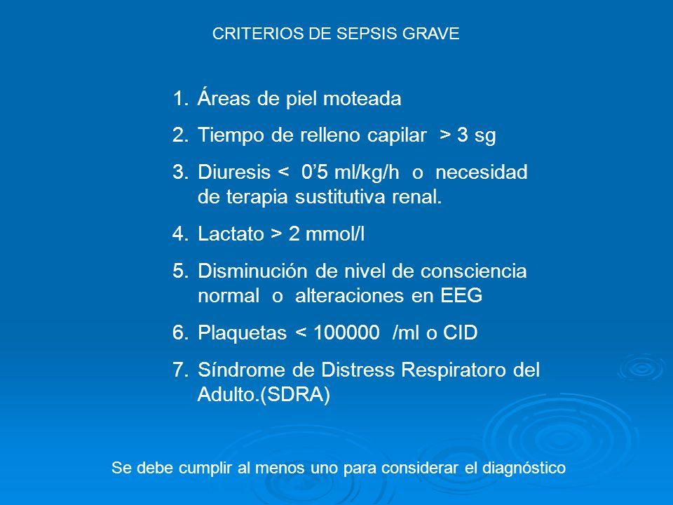 1.Áreas de piel moteada 2.Tiempo de relleno capilar > 3 sg 3.Diuresis < 05 ml/kg/h o necesidad de terapia sustitutiva renal. 4.Lactato > 2 mmol/l 5.Di