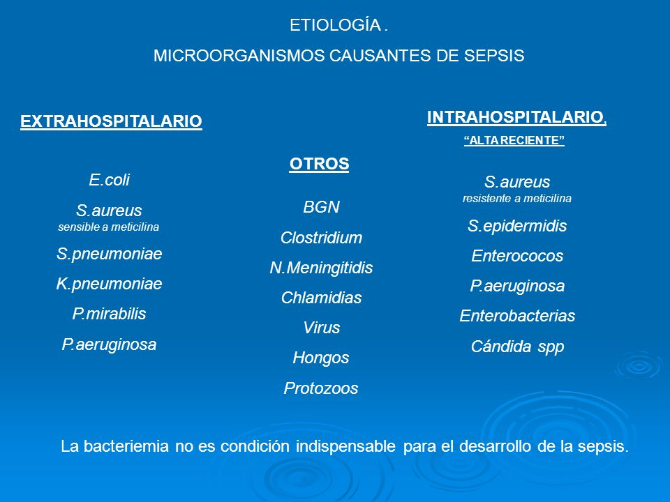 ETIOLOGÍA. MICROORGANISMOS CAUSANTES DE SEPSIS La bacteriemia no es condición indispensable para el desarrollo de la sepsis. EXTRAHOSPITALARIO INTRAHO