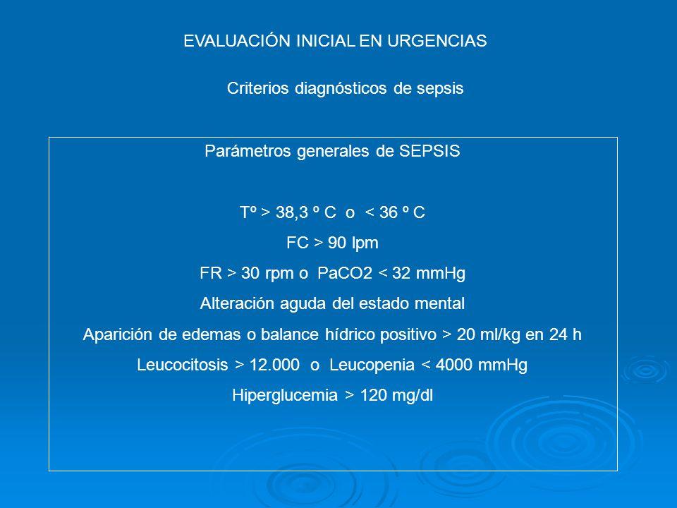 EVALUACIÓN INICIAL EN URGENCIAS Criterios diagnósticos de sepsis Parámetros generales de SEPSIS Tº > 38,3 º C o < 36 º C FC > 90 lpm FR > 30 rpm o PaC
