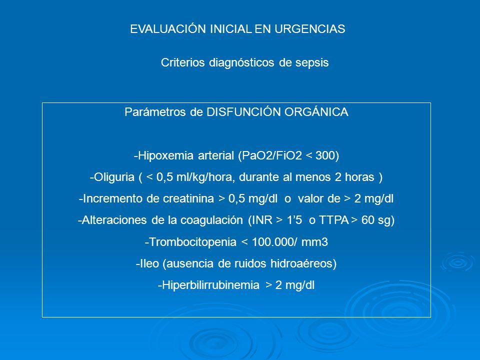 EVALUACIÓN INICIAL EN URGENCIAS Criterios diagnósticos de sepsis Parámetros de DISFUNCIÓN ORGÁNICA -Hipoxemia arterial (PaO2/FiO2 < 300) -Oliguria ( <