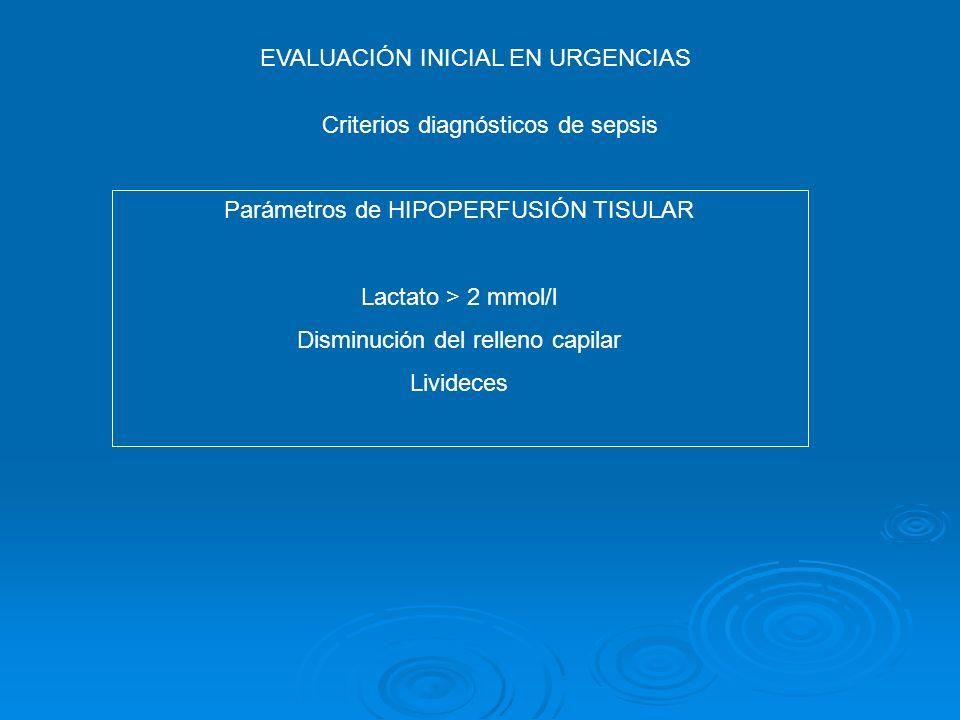 EVALUACIÓN INICIAL EN URGENCIAS Criterios diagnósticos de sepsis Parámetros de HIPOPERFUSIÓN TISULAR Lactato > 2 mmol/l Disminución del relleno capila