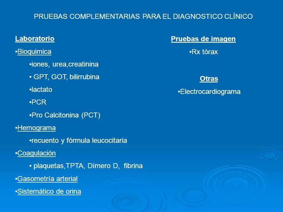 PRUEBAS COMPLEMENTARIAS PARA EL DIAGNOSTICO CLÍNICO Laboratorio Bioquimica iones, urea,creatinina GPT, GOT, bilirrubina lactato PCR Pro Calcitonina (P