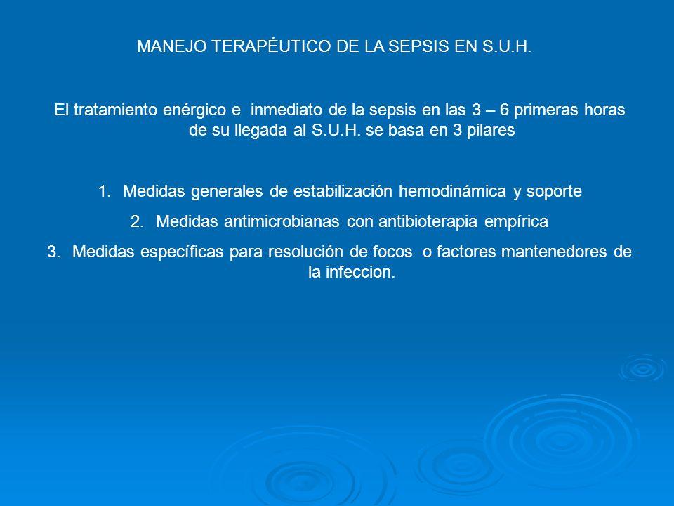 MANEJO TERAPÉUTICO DE LA SEPSIS EN S.U.H. El tratamiento enérgico e inmediato de la sepsis en las 3 – 6 primeras horas de su llegada al S.U.H. se basa