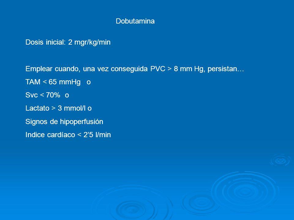 Dosis inicial: 2 mgr/kg/min Emplear cuando, una vez conseguida PVC > 8 mm Hg, persistan… TAM < 65 mmHg o Svc < 70% o Lactato > 3 mmol/l o Signos de hi