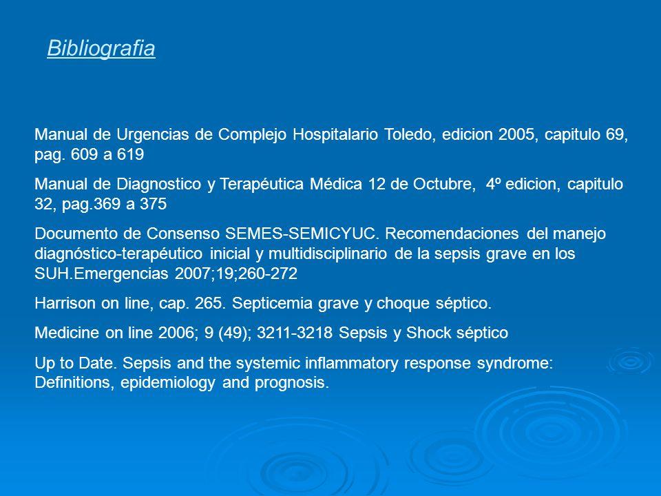 Bibliografia Manual de Urgencias de Complejo Hospitalario Toledo, edicion 2005, capitulo 69, pag. 609 a 619 Manual de Diagnostico y Terapéutica Médica