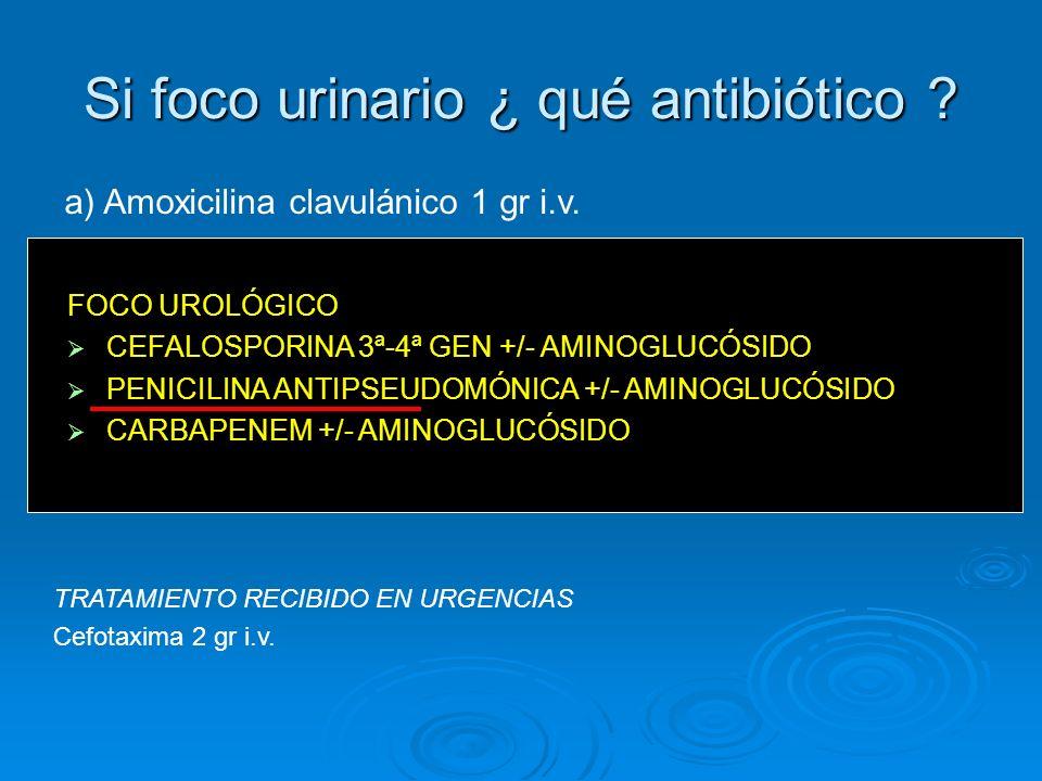 Si foco urinario ¿ qué antibiótico ? TRATAMIENTO RECIBIDO EN URGENCIAS Cefotaxima 2 gr i.v. a)Amoxicilina clavulánico 1 gr i.v. b)Norfloxacino 400 mg