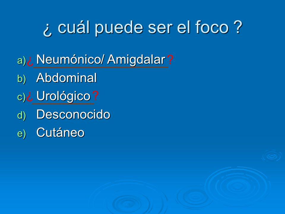 ¿ cuál puede ser el foco ? a) Neumónico/ Amigdalar b) Abdominal c) Urológico d) Desconocido e) Cutáneo ? ¿ ¿ ?