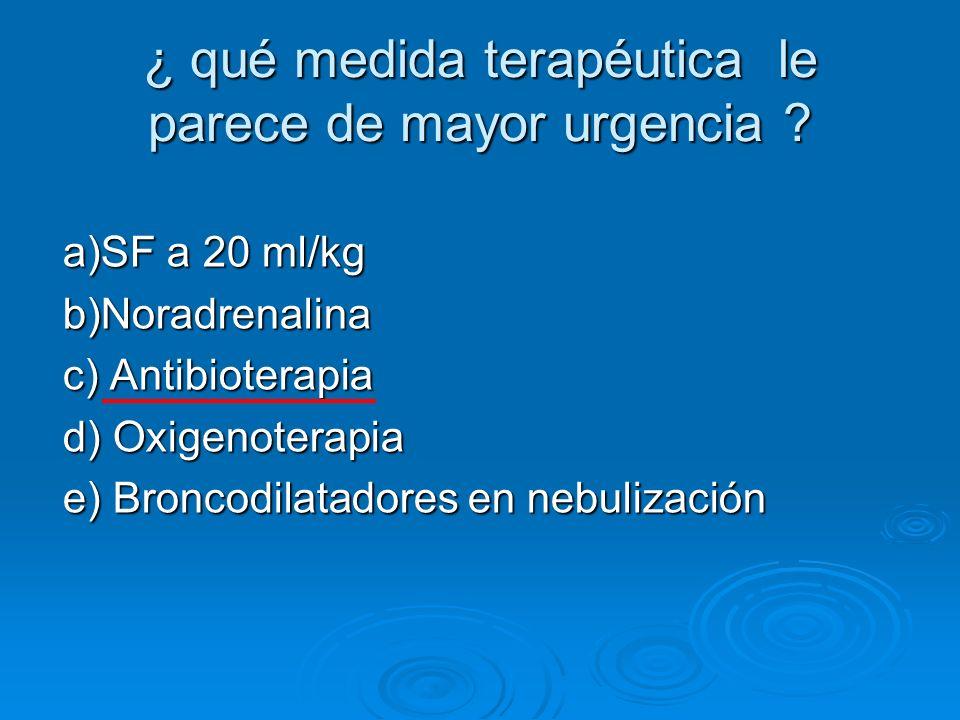 ¿ qué medida terapéutica le parece de mayor urgencia ? a)SF a 20 ml/kg b)Noradrenalina c) Antibioterapia d) Oxigenoterapia e) Broncodilatadores en neb
